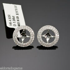 14K WHITE GOLD 1.00 ct. DIAMOND JACKETS & STUD MOUNT EARRINGS EACT 0.50-1.25 ct