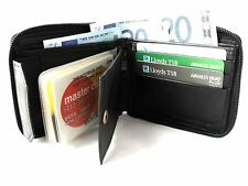 MENS HIGH QUALITY LUXURY SOFT BLACK LEATHER ALL ROUND ZIP WALLET 1184