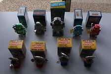 9 Vintage Wind Up Robots Gang of 9 Robot7 Captain Robot Strollers Old Stock NIB