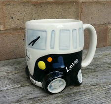 Classic Black Camper Van Mug - Stoneware and Handpainted.  Racing hippy bus