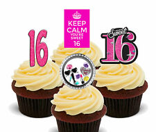 16th Birthday Girl Edible Cupcake Toppers, Stand-up Sweet 16 Cake Decorations