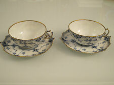 X 2 Royal Copenhagen BLUE FLUTED FULL LACE with Gold Rim Tea cups & Saucers 1130