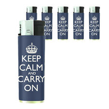 Butane Refillable Gas Lighter Set of 5 Keep Calm and Carry On Design-017