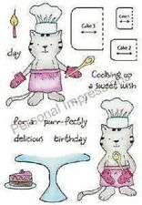 "Stampers Anonymous 4"" x 5.25"" Clear Stamps BAKING KITTY HONEYPOP 11047MC"