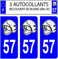3 sticker plaque immatriculation auto DOMING 3D RESINE CASQUE POMPIER DEPARTE 57