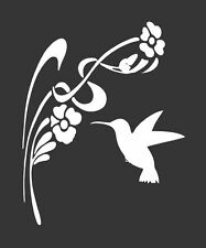 Hummingbird Flowers - Die Cut Vinyl Window Decal/Sticker for Car/Truck