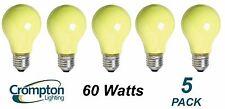 5 Pack YELLOW Coloured Bayonet Party / Festoon Light Globes 60W E27 A60