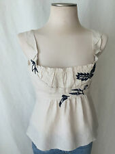 Auth PRADA 100% linen Sleeveless Off White Blouse with Blue Embroidery, Top.  M