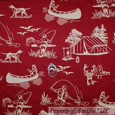 BonEful FABRIC FQ Cotton Quilt Red Dog Hunt Cabin Deer Bird Camp Fish Tent Canoe