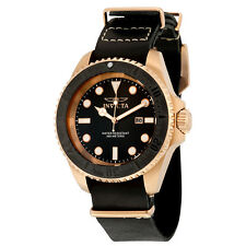 Invicta Pro Diver Black Dial Brown Leather Mens Watch 17582