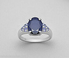 Sterling Silver 3ct Midnight Blue Genuine Natural Sapphire Tanzanite Ring Size 9