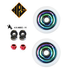 pair pro kick stunt scooter wheels metal core neo chrome 110mm abec 11 bearings