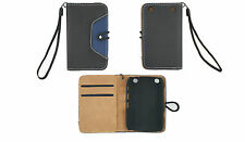Black/Blue Faux Leather Case Book Cover For Blackberry 9320