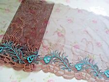 """1Y~8""""~ Venise Embroidered Lace Trim Tulle Wave Line Wedding Doll Aqua Brown"""