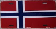 "Aluminum National Flag Norway ""License Plate"" NEW"