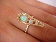 14K YELLOW GOLD UNUSUAL MULTICOLOR OPALS LONG HAND MADE RING 3.7 GRAMS SIZE 7.25