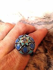 Blue Enamel Vintage Gold Rhodium Morrocan Brass Filigree Size 8 Ring