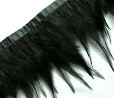F202 PER 30cm - Black Rooster Hackle Hen feather fringe Trim Fascinator Material