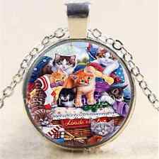 Cute Kitty Cat Photo Cabochon Glass Tibet Silver Chain Pendant  Necklace