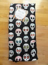 Thro by Marlo Lorenz Reversible Throw Blanket Halloween Mardi Gras Skulls NWT