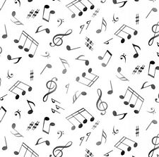 Fat Quarter Live Jazz Musical Notes White 100% Cotton Quilting Fabric