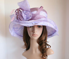 2014 NEW Church Derby Wedding 3 Layers Sinamay & Organza Hat Multi-Color, Purple