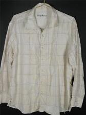 Tommy Bahama Silk Blend Ivory Blue Plaid Tone On Tone Leaf Print Shirt XL