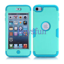 Green/Light Blue Shockproof Rugged Rubber Hard Cover Case For iPod Touch 5 6