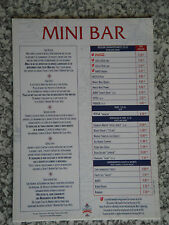 Carte tarif minibar hotel NEWPORT BAY CLUB - DISNEYLAND Paris NEUF