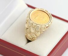 Mens 14K YG 1982 1/10 oz Gold Krugerrand Coin Nugget Ring Gents SZ 9.75 Vintage
