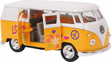 Yellow 1963 Scale Model VW Volkswagen Hippie Camper Van Bus Toy Boxed - 9329