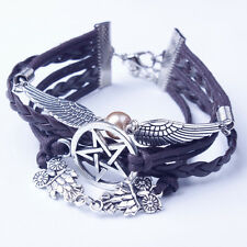 Womens Retro Women Bracelet With Wings and Star Bangle Charm Cuff