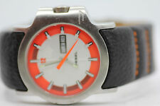 Mens Diesel DZ-4035 Silver/Orange Day Date Watch Thick Leather New Battery