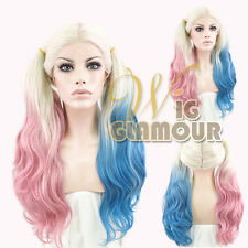"Long Curly 22"" Blonde Pink Blue Mixed Harley Quinn Lace Front Synthetic Wig"