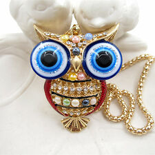Gold Plated Crystal Bead Evil Eye Red Owl Charm Pendant Necklace Sweater Chain