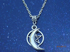 Tibetan Silver Pentagram & Moon Wiccan Pagan Pendant Charm Necklace Chain