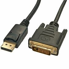 2m Displayport to DVI-D Cable 20 Pin DVI - DP Monitor Lead Adapter Male 2 Metre