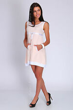 Party Mini Dress With Pockets & Zip Sleeveless Scoop Neck Tunic Size 8-12 FT1054