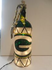 Green Bay Packers inspired Wine Bottle Lamp Stained Glass look Handpainted