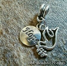 1 Word Hope Tag & Dove w/ Olive Branch Double Pendant European Dangle Bead Charm