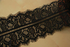 Black Lace Trim Crochet Fabric Eyelash Lace Scalloped Edges Fabric Tulle