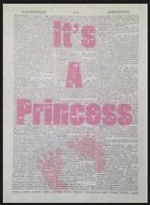 It's a Princess Baby Girl Vintage Dictionary Print Nursery Wall Art Picture Gift