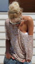Womens Off-shoulder Glistening Sequin Slim Fit Shirt Tops Blouses Casual Tee XXL