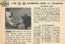 APRIL 15,1961 TV BASEBALL AD~CINCINNATI REDS~ST LOUIS CARDINALS~ENDS IN PROTEST