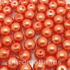 Vidrio de 8 mm imitación perlas-Coral (50 Cuentas), cuentas de perla, la fabricación de joyas