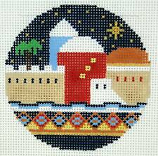 "LEE Holiday HOLY CITY of JERUSALEM handpainted 3"" Rd.  Needlepoint Canvas"