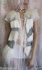Rare! Vtg *70s GLAM* Genuine Mongolian Rabbit Fur Crystal Sequin Cream Gilet XS