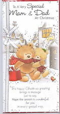 Mam & Dad Christmas Card. To A Very Special Mam & Dad Cute Card With A Bow.