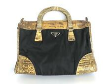 Authentic PRADA Nylon Leather Black Brown Handbag Shoulder Bag
