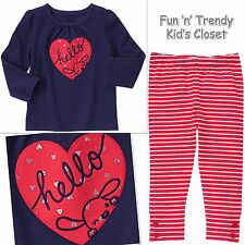 NWT Gymboree FUN AT HEART Girls Size 6-12 Months Tee Shirt Top & Leggings SET